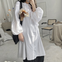 Dress Spring 2021 white Average size Mid length dress singleton  Long sleeves street square neck Loose waist Solid color Single breasted A-line skirt routine Others 18-24 years old Type H Other / other fold C188 More than 95% other polyester fiber neutral