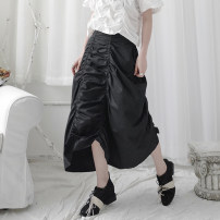 skirt Summer 2020 S,M,L black Mid length dress Versatile Natural waist A-line skirt Solid color Type A 18-24 years old YM09 More than 95% other polyester fiber Pleating