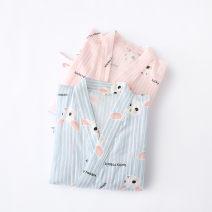 Pajamas / housewear set female Other / other L, M Gauze kimono bathrobe - Blue Striped rabbit, gauze kimono bathrobe - Pink Striped rabbit, gauze kimono bathrobe - lemon, gauze kimono bathrobe - feather cotton