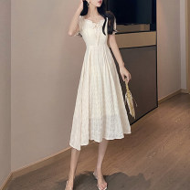 Dress Summer 2021 Light green apricot S M Mid length dress singleton  Short sleeve commute Lotus leaf collar High waist Solid color Socket A-line skirt routine Others 25-29 years old Type A Showgrid Korean version Lace DY-DXH-5L-522-H-36610 More than 95% other other Other 100%