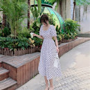 Dress Summer 2021 white S M L XL longuette singleton  Short sleeve commute square neck High waist Dot Socket A-line skirt routine Others 25-29 years old Type A Showgrid Korean version DY-NRJ-2L-A02-D-3754 More than 95% other Other 100% Pure e-commerce (online only)