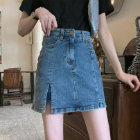 skirt Summer 2021 S M L Retro Blue Short skirt commute High waist A-line skirt Solid color Type A 25-29 years old DY-DXH-1L-A10-9065 More than 95% Denim Showgrid other pocket Other 100% Pure e-commerce (online only)
