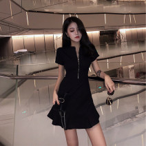 Dress Spring of 2019 Black yellow S M L XL Middle-skirt singleton  Short sleeve commute Crew neck High waist Solid color zipper Ruffle Skirt routine Others 25-29 years old Type A Showgrid Simplicity 81% (inclusive) - 90% (inclusive) polyester fiber Polyester 85% other 15%