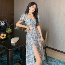 Dress Summer 2021 Oil blue S M L XL longuette singleton  Short sleeve commute square neck High waist Broken flowers Socket A-line skirt routine 25-29 years old Type A Showgrid Korean version printing More than 95% other other Other 100% Pure e-commerce (online only)