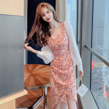 Dress Summer 2021 Flower color S M L XL Short skirt singleton  Long sleeves commute V-neck middle-waisted Decor Socket Irregular skirt puff sleeve camisole 25-29 years old Type H Showgrid Korean version Asymmetric button print with pleated stitching DY-GD-7L-755-C-820 More than 95% other other