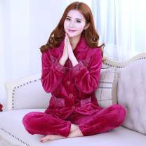 Pajamas / housewear set female Other / other M (80 ~ 100kg), l (101 ~ 120kg), XL (121 ~ 135kg), XXL (136 ~ 160kg) other Long sleeves Simplicity pajamas winter thickening Small lapel Solid color trousers Front buckle middle age 2 pieces rubber string More than 95% Flannel Embroidery 280g