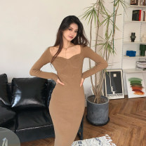 Dress Winter 2020 Black dress camel dress S M L XL Mid length dress singleton  Long sleeves commute square neck High waist Solid color Socket other routine 18-24 years old Type A Fragrant and pitiful Korean version D1N2580 More than 95% other Other 100%