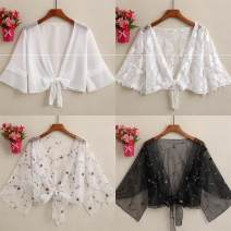 Lace / Chiffon Spring 2020 M (85-105 kg), l (106-115 kg), XL (116-125 kg), 2XL (126-135 kg), 3XL (135-145 kg) Long sleeves Versatile singleton  easy have cash less than that is registered in the accounts V-neck Solid color pagoda sleeve 25-29 years old P11494 Frenulum nylon