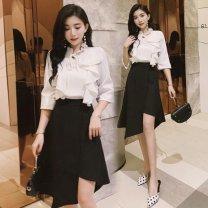 skirt Summer 2020 S,M,L,XL,2XL black Middle-skirt Versatile High waist A-line skirt Ruffles, waves, zippers