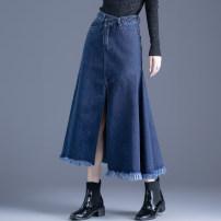 skirt Spring 2021 XS S M L XL 2XL 3XL Dark blue black Mid length dress commute High waist Denim skirt Solid color Type A 18-24 years old YEM_ MD1208N3 91% (inclusive) - 95% (inclusive) Denim Jarman (clothing) cotton Asymmetric button zipper stitching in pocket Korean version Cotton 92% polyester 8%