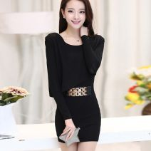 Dress Spring of 2018 Short skirt Fake two pieces Long sleeves commute Crew neck Solid color One pace skirt routine lady 71% (inclusive) - 80% (inclusive) knitting