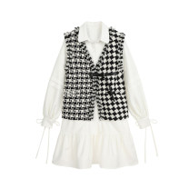 Dress Winter 2020 Black and white check S, M Mid length dress Two piece set Long sleeves commute square neck lattice Single breasted Ruffle Skirt other Type A Cloud brother Splicing