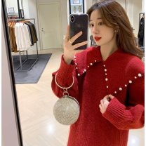 Women's large Winter 2020, autumn 2020, spring 2021 gules S = 1, large L = 3, large XL = 4 Other oversize styles singleton  commute Long sleeves Solid color Korean version routine 81% (inclusive) - 90% (inclusive) Middle-skirt
