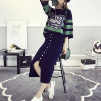 Women's large Spring of 2019 Green, black L [suggested 115-130 kg], XL [suggested 130-145 kg], s suggested less than 95 kg, m suggested 95-110 kg Two piece set commute easy moderate Socket three quarter sleeve Solid color, letter Crew neck Three dimensional cutting Other