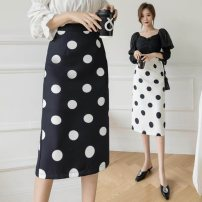 skirt Spring 2021 S,M,L,XL White, black longuette commute High waist skirt Dot Type A 25-29 years old 91% (inclusive) - 95% (inclusive) polyester fiber Korean version