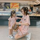 Parent child fashion Yellow pink light blue Women's dress Women and men Hello Memory summer Korean version Thin money Cartoon animation Finished T-shirt other L M S XL 3179 three color polo Other 100% Class B M L XL XXL Spring 2020 Chinese Mainland