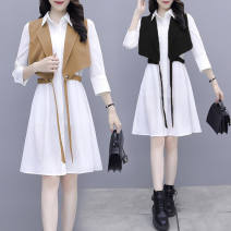 Dress Spring 2021 Mid length dress Two piece set Long sleeves commute Crew neck zipper other Other / other Korean version 71% (inclusive) - 80% (inclusive)