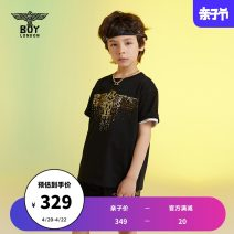 T-shirt black BOY LONDON 110cm 120cm 130cm 140cm 150cm 160cm neutral summer Short sleeve Crew neck leisure time There are models in the real shooting nothing cotton Brand logo Cotton 100% Sweat absorption Summer 2021