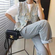 Lace / Chiffon Summer 2021 Blue Pink S M L three quarter sleeve commute Super short Flattering MDSSY6232 Tassel button Korean version Other 100% Pure e-commerce (online only)