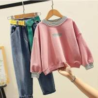 suit Other / other Light yellow top + Denim trousers , Pink top + Denim trousers , You need to contact customer service to make up the price difference of five yuan female spring and autumn Korean version routine Socket Solid color Class B Three months, six months