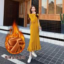 Dress Winter of 2019 S,M,L,XL,2XL longuette singleton  Long sleeves Crew neck Elastic waist Solid color Socket Ruffle Skirt Lotus leaf sleeve 25-29 years old 91% (inclusive) - 95% (inclusive) knitting