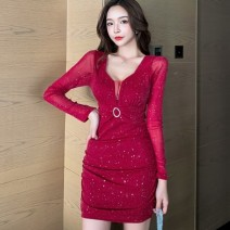 Dress Winter 2020 Black, red ~ S,M,L Short skirt singleton  Long sleeves commute V-neck High waist Solid color zipper One pace skirt routine 25-29 years old Type X Inlay drill, splice