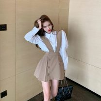 skirt Spring 2021 S. M, l, average size Short skirt commute High waist other Solid color 18-24 years old Button, pocket Korean version