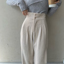 Casual pants White, purple, black S, M Spring 2021 trousers Straight pants High waist commute thickening 18-24 years old 96% and above Other / other corduroy Korean version Button cotton