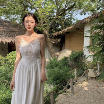 Dress Summer 2021 white S, M Mid length dress singleton  Sleeveless commute V-neck High waist Solid color Socket other other camisole 18-24 years old Other / other Korean version 9336#