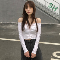 T-shirt White, pink, black Average size Spring 2021 Long sleeves One word collar Self cultivation have cash less than that is registered in the accounts routine commute cotton 86% (inclusive) -95% (inclusive) 18-24 years old Korean version Solid color Other / other Fold, open back