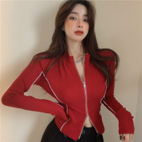 short coat Spring 2021 Average size Red, black Long sleeves have cash less than that is registered in the accounts Thin money singleton  Self cultivation commute routine stand collar zipper Solid color 18-24 years old Other / other 51% (inclusive) - 70% (inclusive) Zipper, stitching 1111(@) other