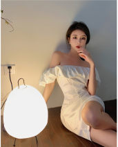 Dress Summer 2021 white S, M Short skirt singleton  Short sleeve commute One word collar High waist Solid color Socket other routine Others 18-24 years old Other / other Korean version Open back, Ruffle other
