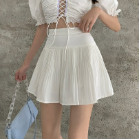 skirt Summer 2021 S,M,L Apricot, white, black Short skirt commute High waist A-line skirt Solid color Type A 18-24 years old 71% (inclusive) - 80% (inclusive) other Other / other polyester fiber fold Korean version
