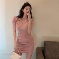 Dress Spring 2021 Black, pink Average size Short skirt singleton  Short sleeve commute V-neck High waist Solid color Socket Irregular skirt routine Others 18-24 years old Other / other Korean version Fold, asymmetric