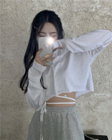 T-shirt White two piece set Average size Spring 2021 Long sleeves Crew neck Straight cylinder have cash less than that is registered in the accounts routine commute cotton 51% (inclusive) - 70% (inclusive) 18-24 years old Korean version Solid color