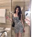 Dress Summer 2020 Black, black and white Average size Short skirt singleton  Sleeveless commute square neck High waist Zebra pattern Socket camisole 18-24 years old Korean version