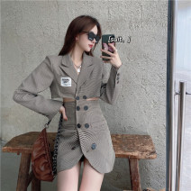 Dress Spring 2021 Khaki, grey S, M Short skirt singleton  Long sleeves commute tailored collar High waist lattice Single breasted other routine Others 18-24 years old Other / other Korean version Button, stitching, hollowing out 6091#