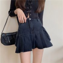 skirt Summer 2021 S,M,L Picture color Short skirt commute High waist Denim skirt Solid color 18-24 years old Other / other Pleats, buttons Korean version