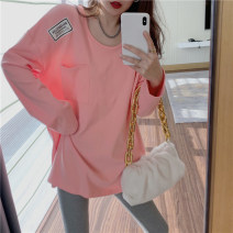 T-shirt White, pink Average size Spring 2021 Long sleeves Crew neck easy Medium length routine commute cotton 86% (inclusive) -95% (inclusive) 18-24 years old Korean version youth letter Other / other 9068#@@ Patch, pocket