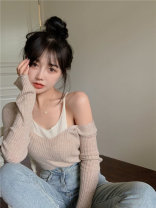 Wool knitwear Spring 2021 Average size Apricot Long sleeves Fake two pieces Socket other 31% (inclusive) - 50% (inclusive) Regular routine commute easy Low crew neck routine Color matching Socket Korean version 18-24 years old Other / other Splicing, hollowing out
