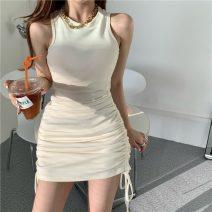 Dress Summer 2021 Off white Average size Short skirt singleton  Sleeveless commute Crew neck High waist Solid color Socket One pace skirt 18-24 years old Korean version Pleating