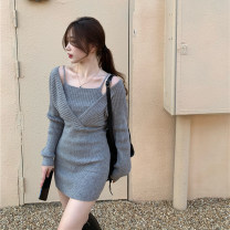Dress Spring 2021 Gray, white, black Average size Short skirt Fake two pieces Long sleeves commute square neck High waist Solid color Socket other routine camisole 18-24 years old Type H Other / other Korean version Splicing knitting polyester fiber