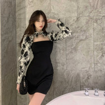 Dress Spring 2021 Picture color S, M Short skirt Fake two pieces Long sleeves commute Polo collar High waist other Socket other routine Others 18-24 years old Type A Korean version Hollowed out, stitched 9239# 31% (inclusive) - 50% (inclusive) polyester fiber