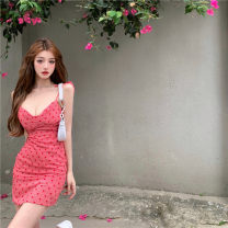 Dress Summer 2021 Red love Sling Dress S,M,L Short skirt singleton  Sleeveless commute V-neck High waist other Socket other other camisole 18-24 years old Other / other Korean version Print, lace up, open back A8027# 31% (inclusive) - 50% (inclusive) other