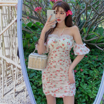 Dress Summer 2021 Decor S, M Short skirt singleton  Short sleeve commute One word collar High waist Broken flowers Socket other puff sleeve Hanging neck style 18-24 years old Other / other Korean version Lace, print, stitching, backless, pleated