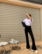 Jeans Spring 2021 Blue, black S,M,L trousers High waist Flared trousers routine 18-24 years old Zipper, button Dark color Other / other