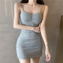 Dress Summer 2021 Gray, black Average size Short skirt singleton  Sleeveless commute V-neck High waist Solid color Socket other other camisole 18-24 years old Korean version fold 662# 31% (inclusive) - 50% (inclusive) other cotton