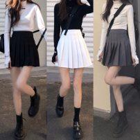 skirt Spring 2021 S, M Dark grey, white, black Short skirt commute High waist Pleated skirt Solid color 18-24 years old Other / other Korean version