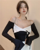 T-shirt Picture color Average size Spring 2021 Long sleeves One word collar Self cultivation have cash less than that is registered in the accounts routine commute other 31% (inclusive) - 50% (inclusive) 18-24 years old Korean version Color matching Other / other 1789# Chain, splice, open back
