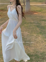 Dress Summer 2021 white S,M,L Mid length dress singleton  Sleeveless commute V-neck High waist Solid color Socket other other camisole 18-24 years old Other / other Korean version Bandages, open backs, bows